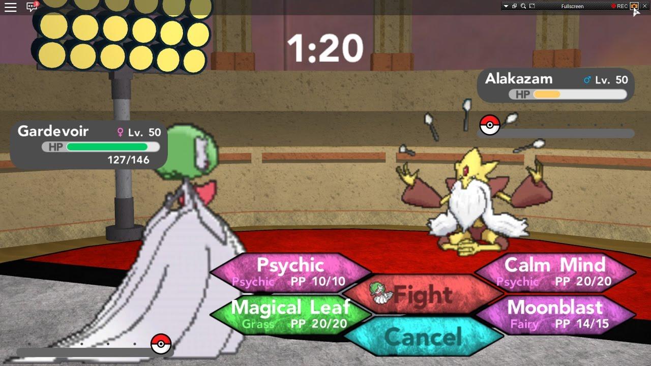 Roblox Pokemon Brick Bronze Using My 2nd Party Team And - Roblox Pokemon Brick Bronze Mega Charizard Mega Gardevoir Vs Mega Alakazam At The Last Part
