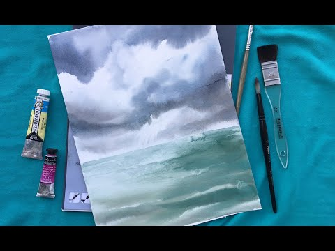 Облака и море акварелью. Работа по-сырому. WATERCOLOR Sea Landscape Speedpainting