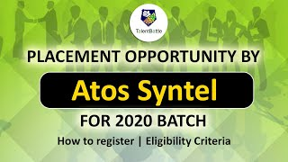 Atos Syntel Placement Opportunity for 2020 Batch | How To Register | Placement Updates