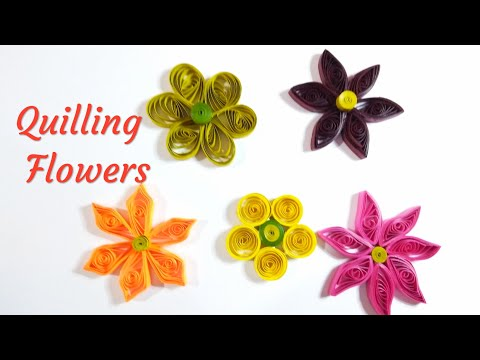 5 basic Quilling flowers, Paper Quilling Flower Designs