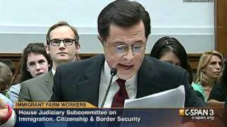 Stephen Colbert gives his opening statement during a hearing of the Subcommittee on Immigration, Citizenship and Border Security (from C-SPAN 9/24/10 ...
