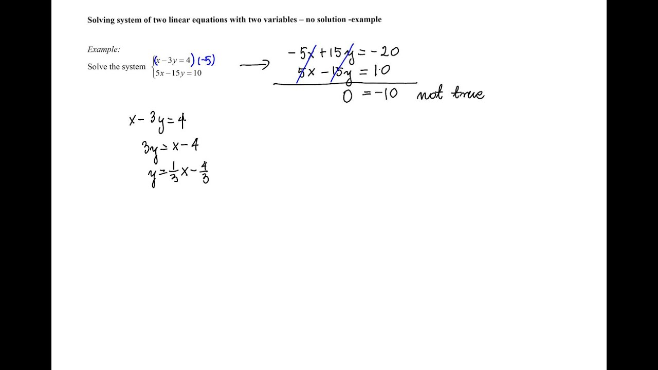 Solving A System Of Two Linear Equations With Two