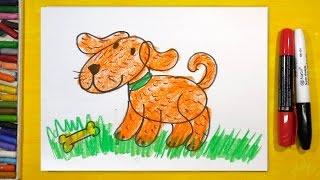 Как нарисовать СОБАКУ, Урок рисования для детей от 3 лет