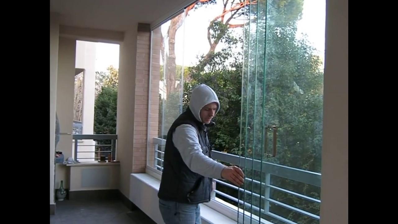 Dimostrazione Pratica Chiusura Vetrata Pieghevole Glassroom Youtube