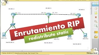 """RIP: Enrutamiento RIP y comando """"redistribute static""""."""