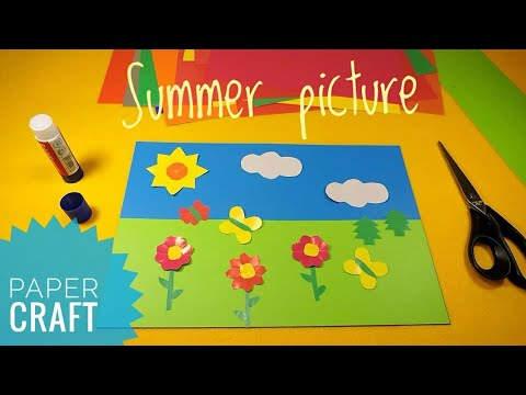 Paper crafts for kids Picture from colored paper with flowers butterflies Education fun for children