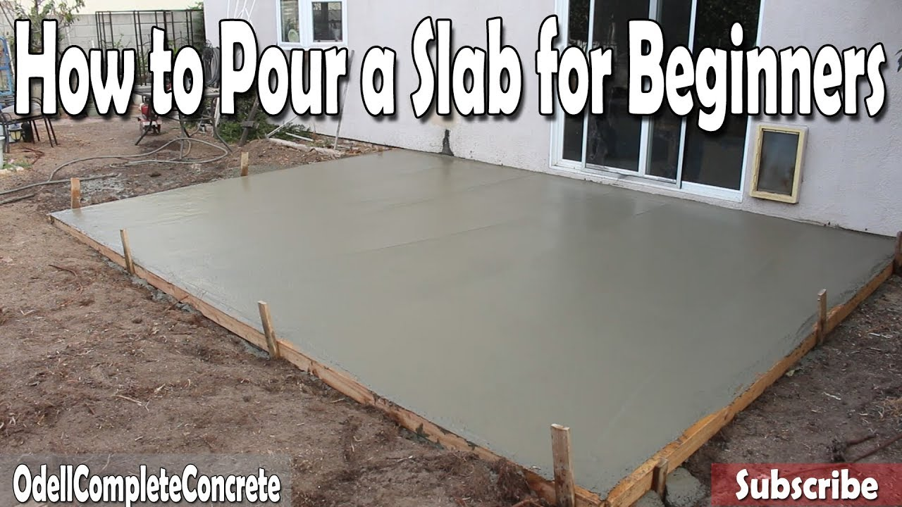 How to pour a concrete slab for beginners diy youtube for How much does it cost to have a foundation poured