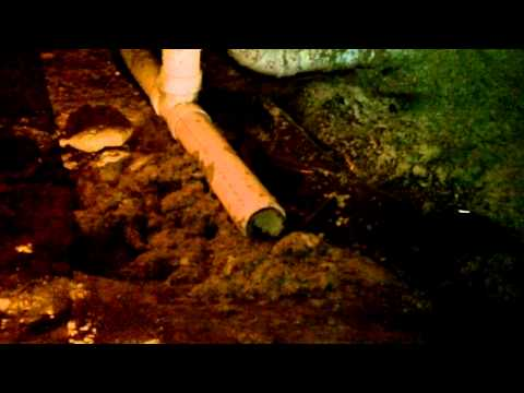 Radon mitigation pipe found uncovered by Franklin TN A+ Home Inspections' Steve Traylor