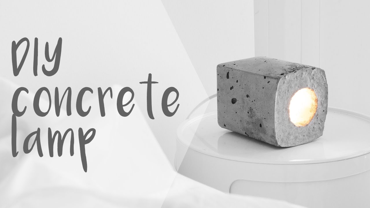 DIY Concrete Block Lamp // Rachel Aust - YouTube
