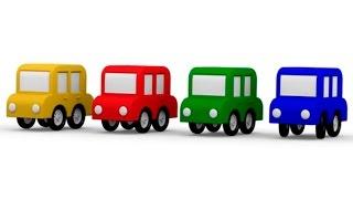 Розвиваючий 3D мультфільм - 4 машинки - Кольору для дітей - Зелений