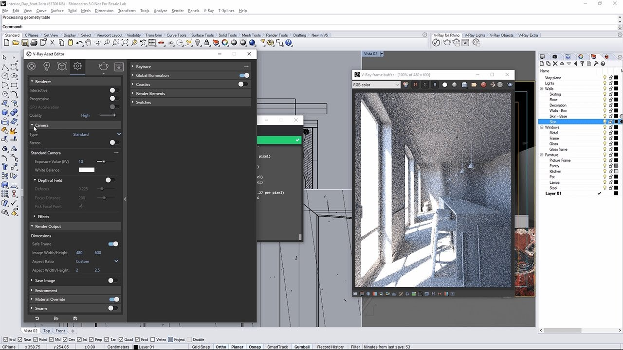 V-Ray for Rhino – Quick Start: Interior Lighting