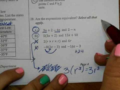 6th Grade FSA Warm-ups Questions 23-33 - YouTube