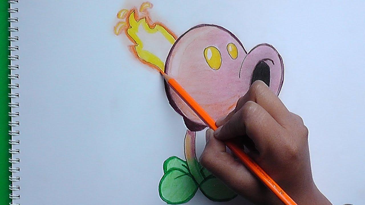 Como Dibujar A Un Pomelo De Pvz: Dibujando Y Pintado Quemaguisantes (Plantas Vs Zombies