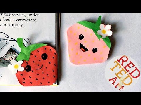 Kawaii Strawberry Bookmark Corner - Easy Paper Crafts - Shopkins inspired