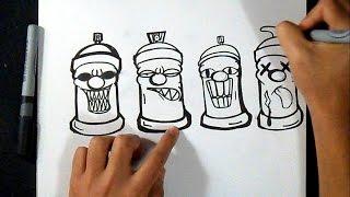Cómo dibujar Latas de spray (Diseños Fáciles) Graffiti