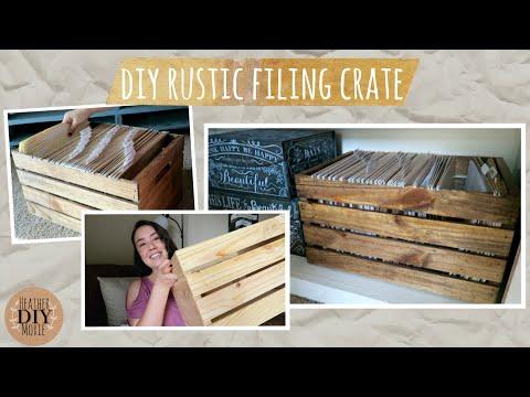 DIY Rustic Filing Crate