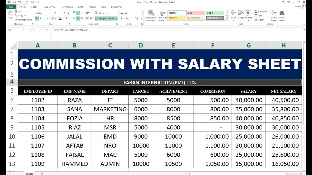 #69 SALARY PLUS COMMISSION SHEET ON EXCEL (HINDI) - YouTube