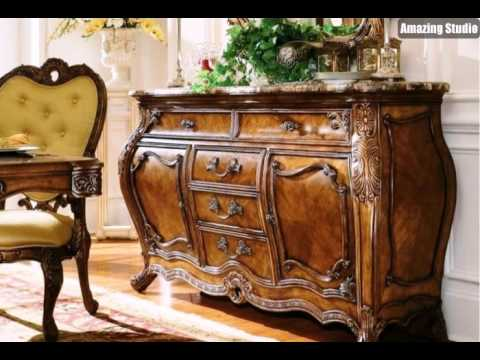 rokoko barock m bel h lzerne kommode ornamente gelber sessel youtube. Black Bedroom Furniture Sets. Home Design Ideas