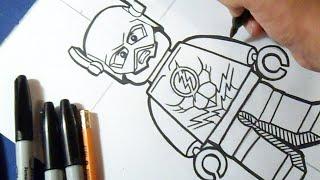 "Cómo dibujar a Flash de ""LEGO"" | How to draw The Flash"