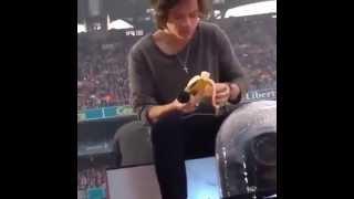 Harry Styles do One Direction come banana durante show e joga sutiã de volta para fã