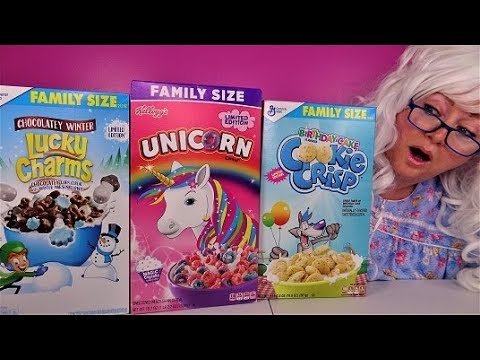 Cereal Challenge Lucky Charms Birthday Cake Cookie Crisp Unicorn Granny Taste Test