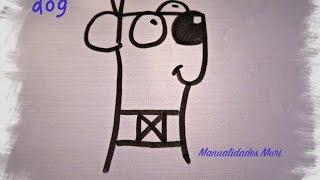 """Como dibujar un Perro con la palabra """"dog"""" diy for kids"""