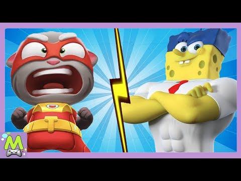 Говорящий Том Погоня Героев vs Губка Боб Большие Гонки.Бег на Ловкость с Мультгероями.Кто Круче