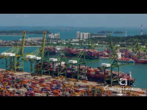 Singapore Port Shipping Timelapse