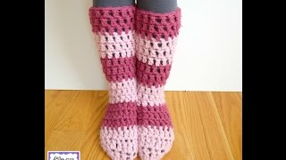 How to crochet the Strawberry Blossom Slipper Socks, Episode 301