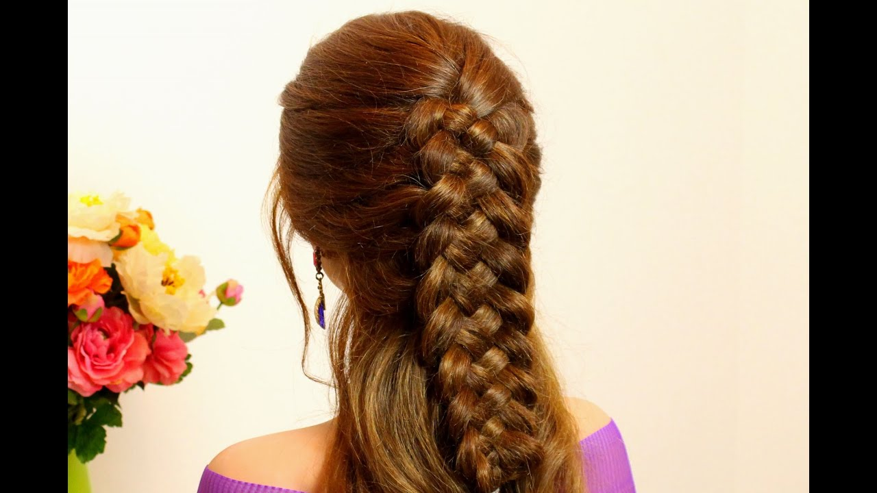 Braided hairstyle for long hair tutorial. 5 strand braid ...