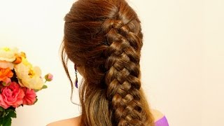 5 strand braid. Braided hairstyle for long hair