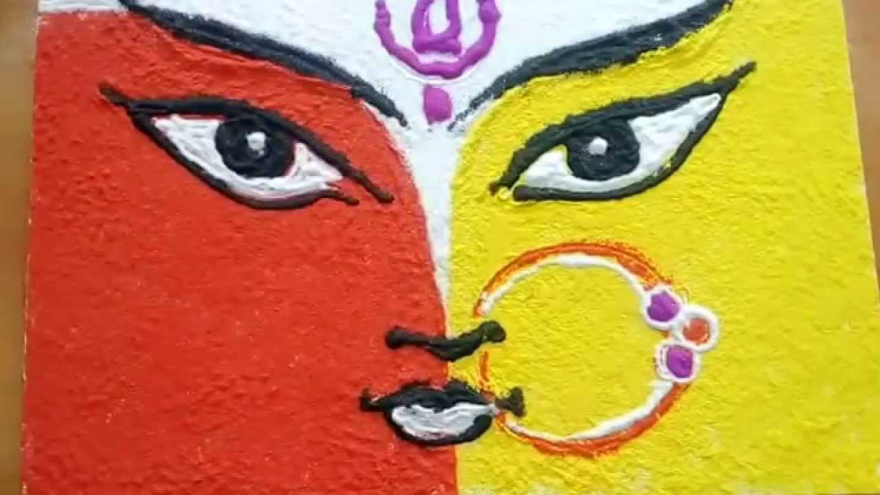 Simple way to draw durga devi youtube for Drawing and painting ideas