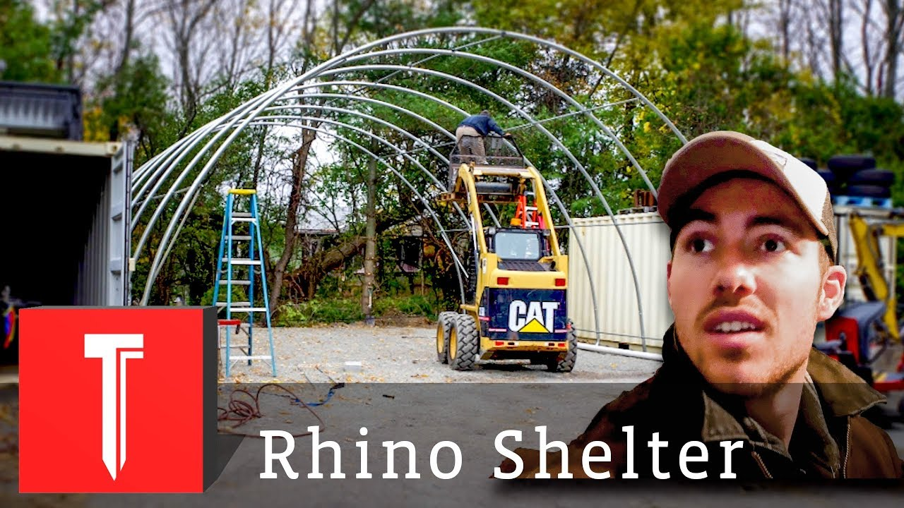 Putting Up A GIANT Portable Garage! || Rhino Shelter Build ...