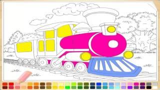 Раскраски для детей онлайн машинки для мальчиков ПАРОВОЗ