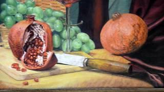 "картина ""Виноград, гранаты, вино""  - многослойная #живопись"