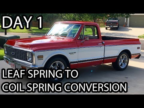 '72 Chevy C10 - Removing the bed with a 4 Post lift - Leaf Spring To Coil Spring Conversion - Day 1