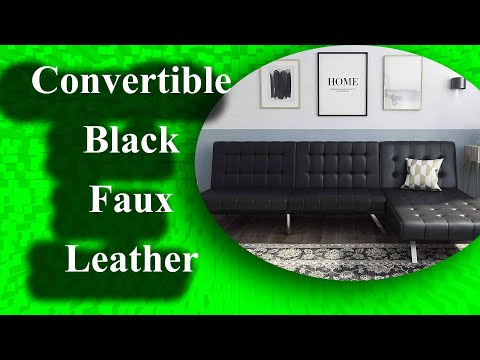 best-dhp-emily-sectional-futon-sofa-with-convertible-black-faux-leather-2020