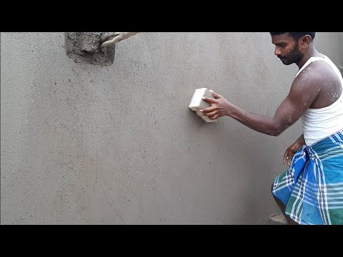 Amazing building plastering in wall-using by sand and cement Construction