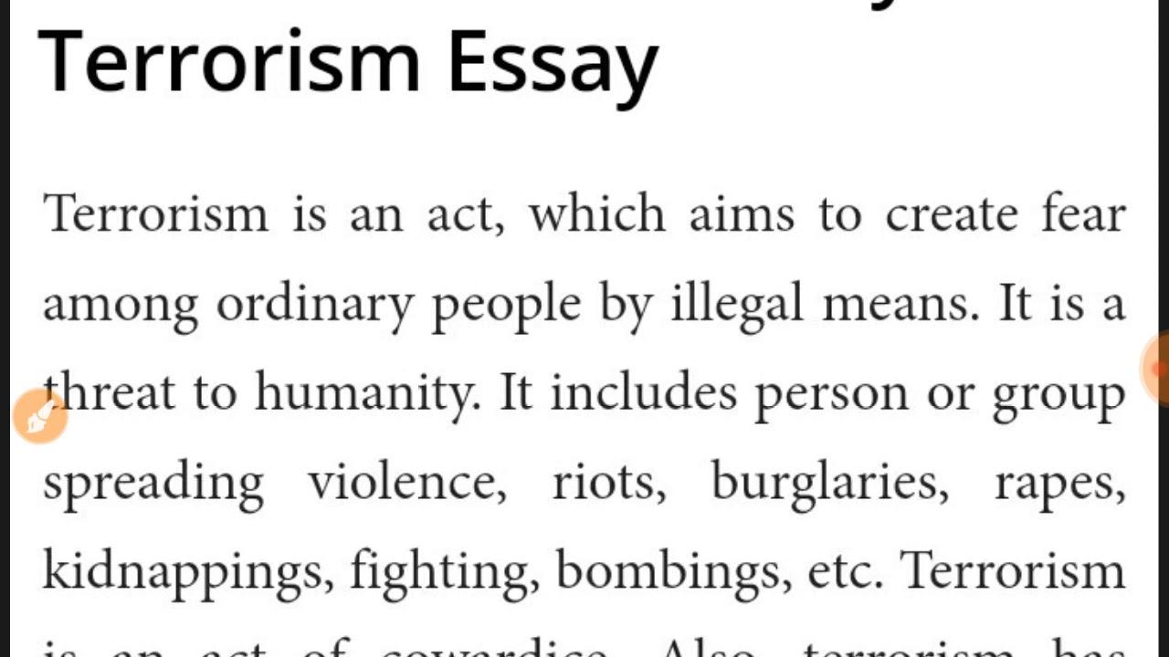 Essay on terrorism