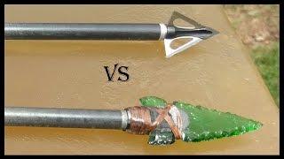 Repeat youtube video Part 1: Glass Arrowhead vs. Modern Broadhead - Ballistic Gel Penetration Comparison
