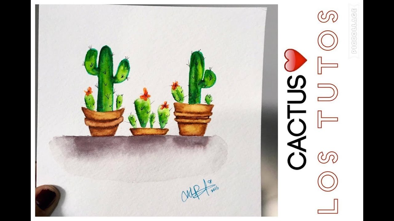 COMO DIBUJAR CACTUS - ACUARELAS - how to draw cactus in watercolor ...