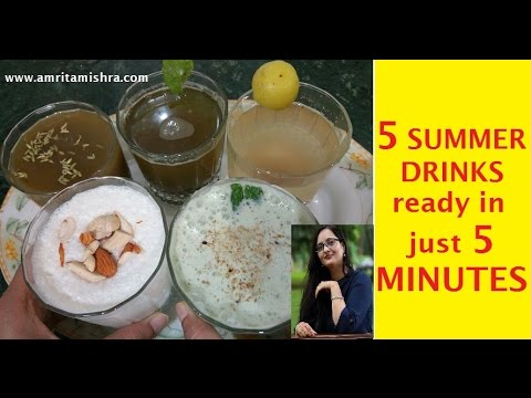 5 Summer Drinks in just 5 minutes|Masala Chaas, Sweet Lassi, Nimbu Paani, Pudina, Saunf Sharbat