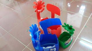 Làm chậu hoa từ chai nhựa cũ. sáng tạo từ nguyên liệu phế thải. Tự làm đồ chơi mầm non