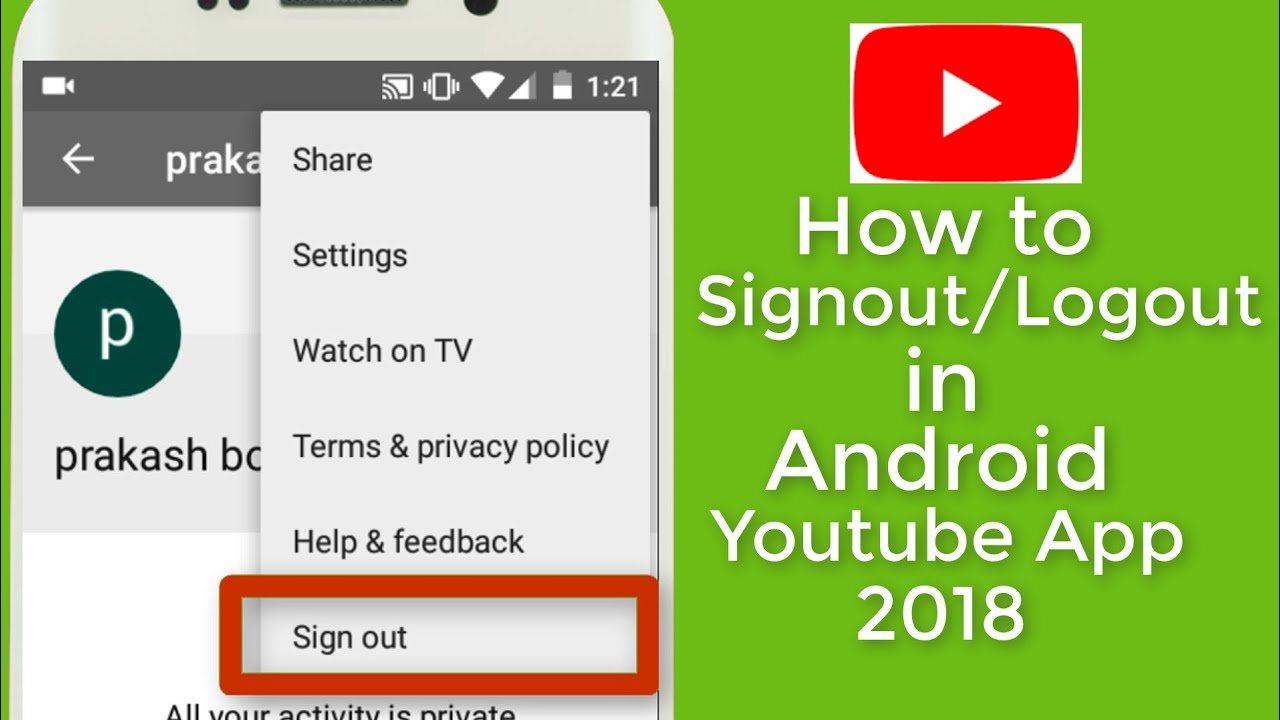 How To Signout Of Youtube Android App 2018 Hindi Youtube