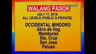 UB: Mga lugar na walang pasok ngayong araw, July 11, 2018, alamin