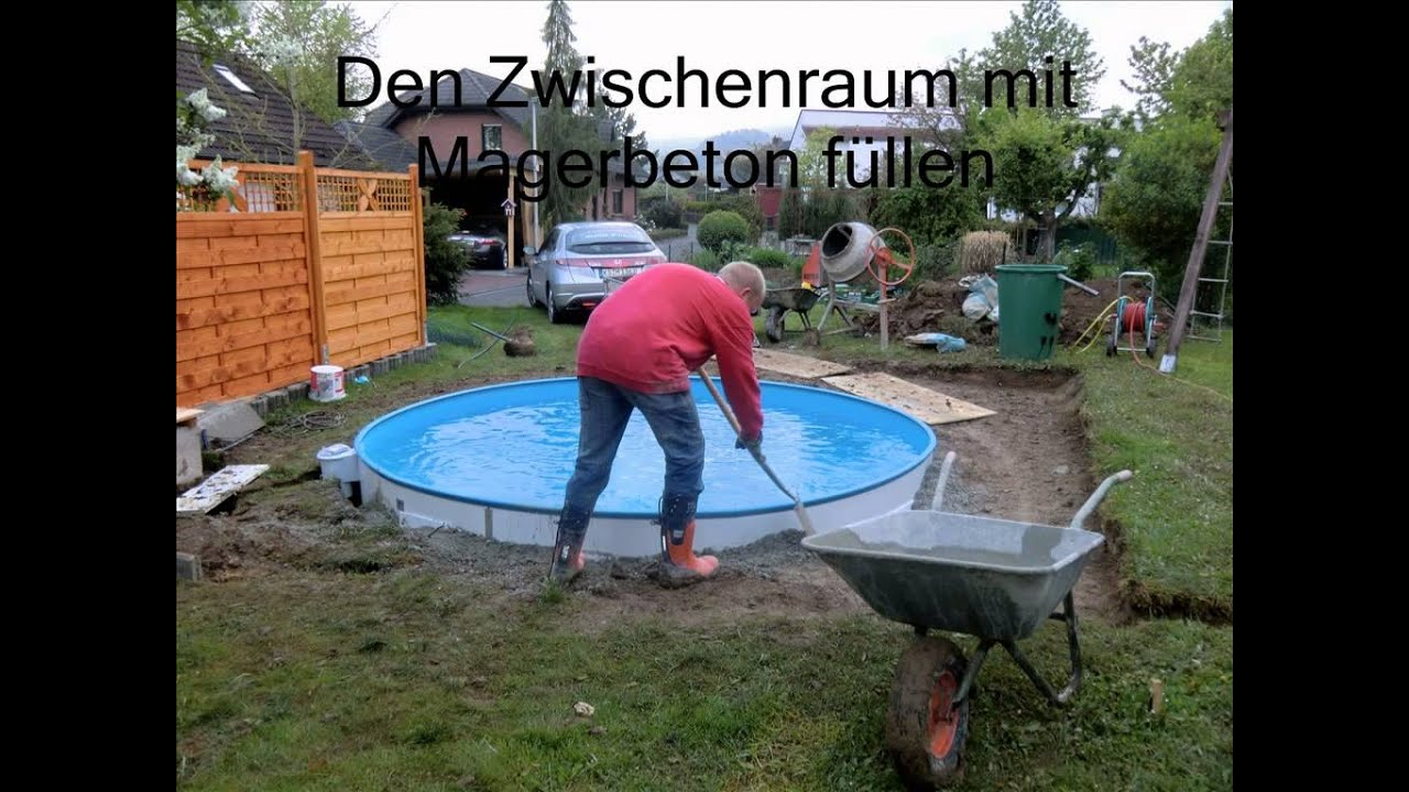 Bau unseres pools youtube for Pool eingraben ohne beton