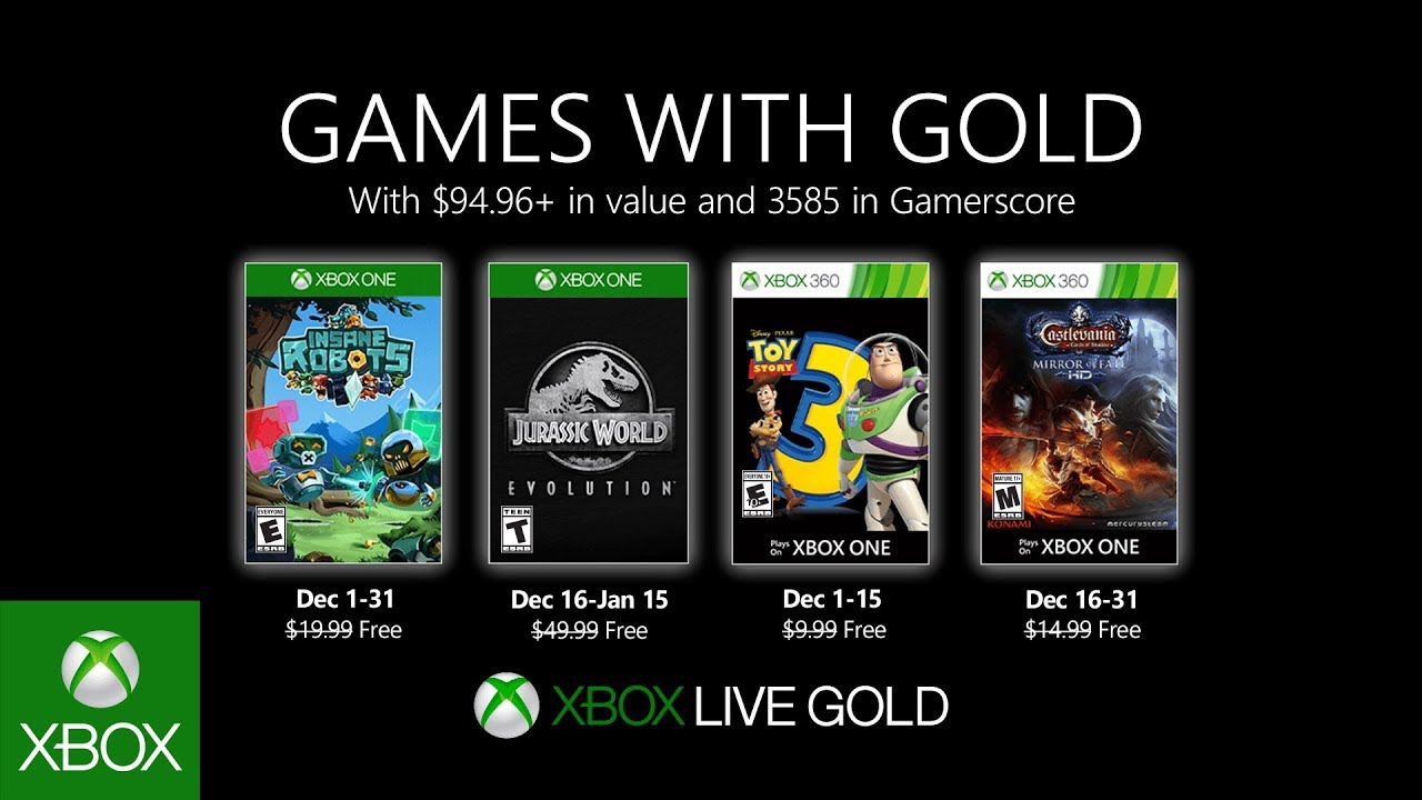 Xbox Gold Games October 2020.Games With Gold Free Games For December Revealed Den Of Geek