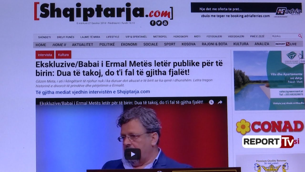 Letra e babait të Ermal Metës/ Të gjitha mediat vjedhin intervistën e Shqiptarja.com