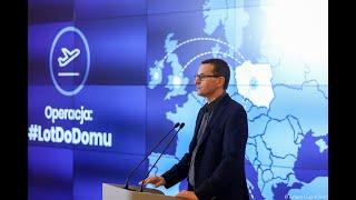 Konferencja premiera M.Morawieckiego, GIS J. Pinkasa i prezesa PLL LOT R. Milczarskiego