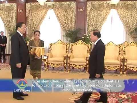 Lao NEWS on LNTV:President Choummaly Sayasone grants credentials to 2 ambassadors.24/3/2014